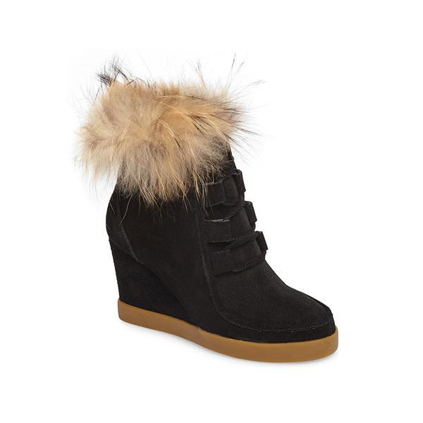 Mokoshoes Suede Fur Trim Wedge Boots