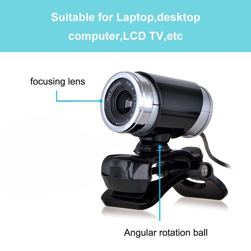 Webcam USB High Definition Camera Web Cam 360 Degree MIC Clip-on for PC Laptop Tablet Skype Home Office