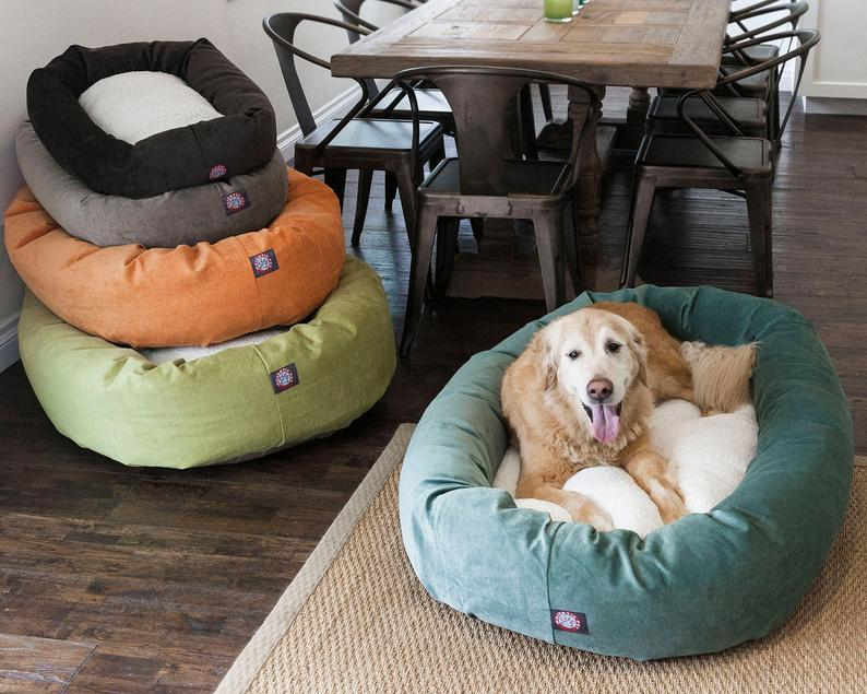Personalized Sherpa Dog Bed, Embroidery Dog Bed, Large Dog Bed, Pet Furniture, Modern Dog Bed, Dog beds, Small Dog Bed, Custom Bagel Dog Bed