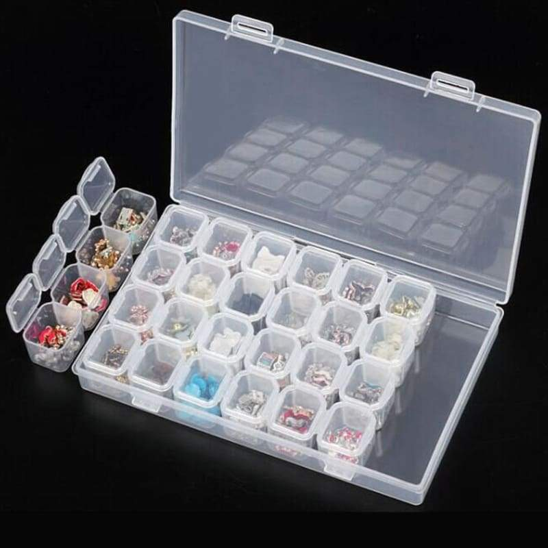 Plastic Storage Jewelry Box 56 Grids Container for Diamond Beads Earring Case