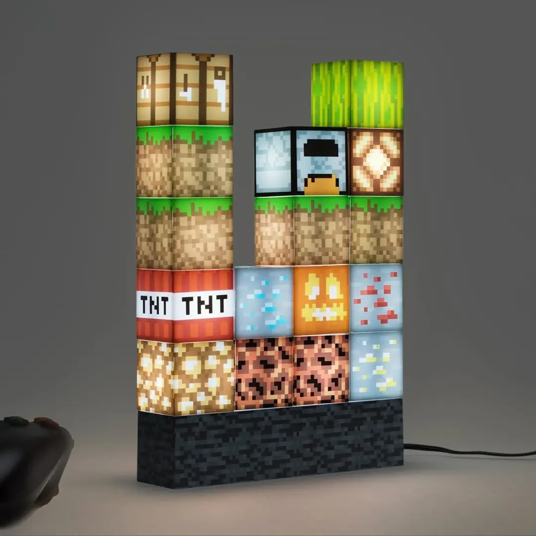 💕 Pixel square mosaic table lamp, creative table lamp that can be freely spliced