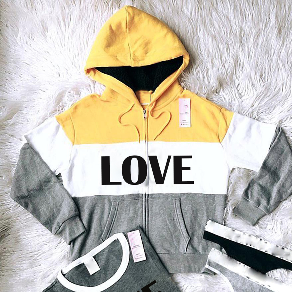 Striped contrast loose hooded sports suit