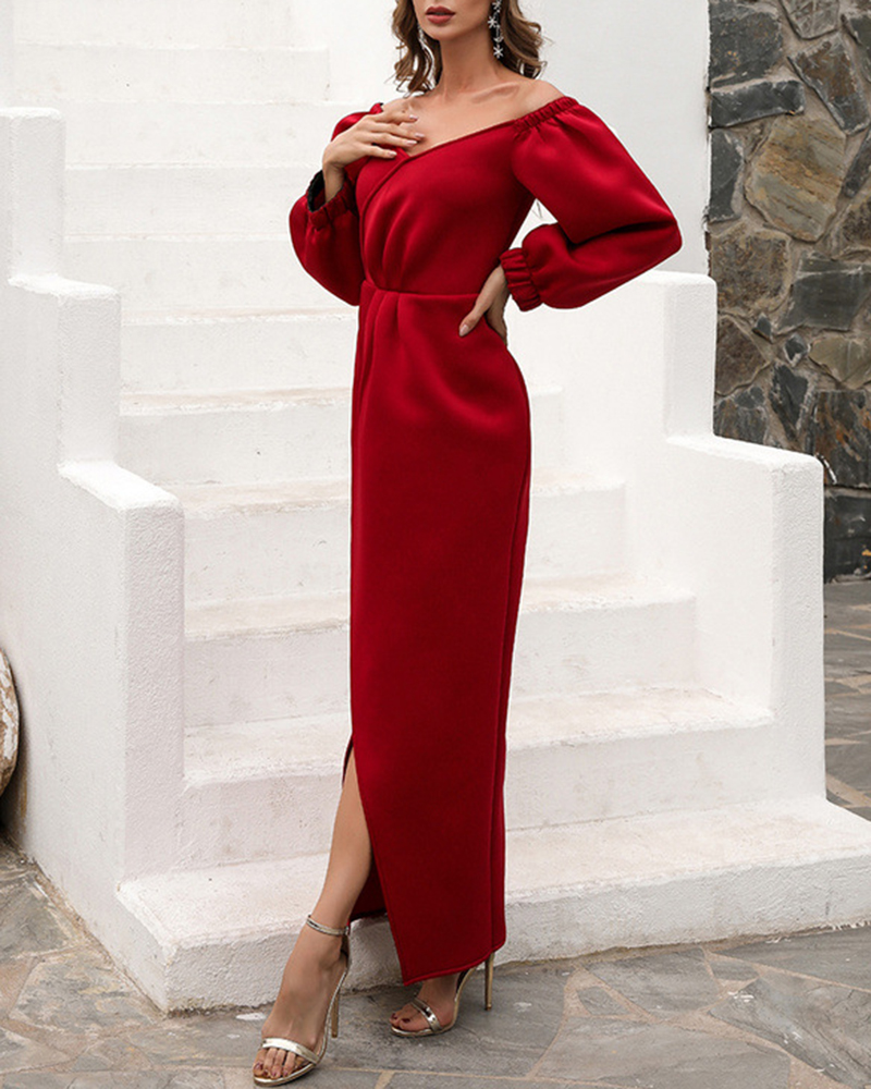 Fashion Retro Solid Color Long Sleeve Casual Evening Dress