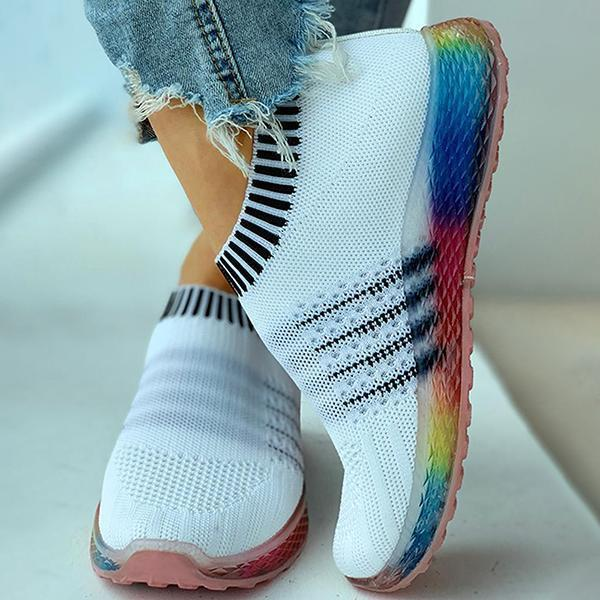 Twinklemoda Colored Bottom Striped Breathable Casual Sneakers