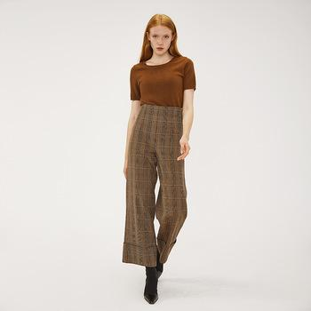 OEM&ODM camel plaid long wide leg casual office lady style vintage women work pants-carrot trousers 2.11