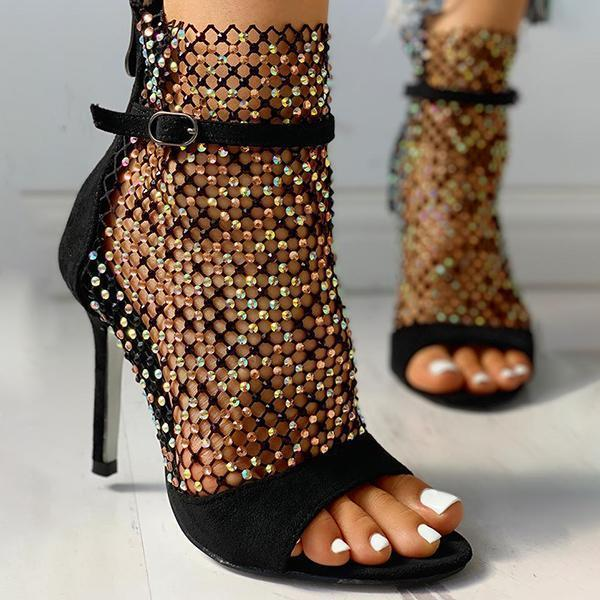 Faddishshoes Studded Grid Mesh Open Toe Thin Heels