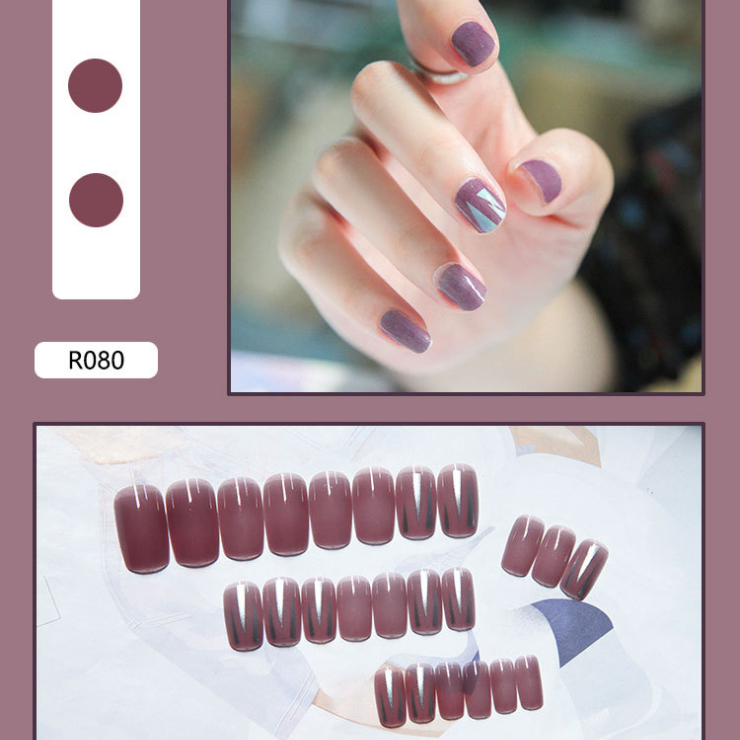 (24 PCS - Simple collocation) Wearable waterproof fake nail stickers💅