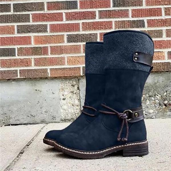 Twinklemoda Buckle Strap Patchwork Mid-Calf Boots