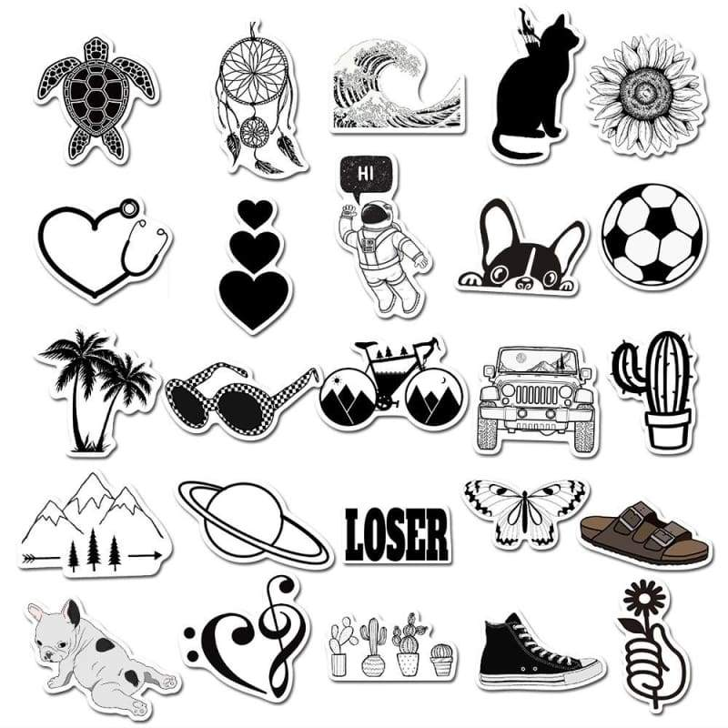 Personality Black and White Simple Graffiti Sticker Personality Skateboard Luggage Computer Phone Waterproof Stickers Toy 25/50PCS