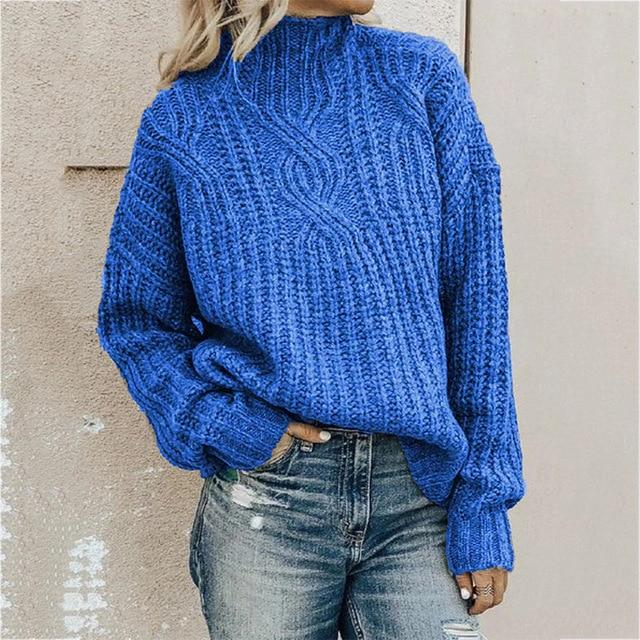 Women's turtleneck knitted sweater pullover sweater