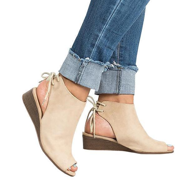 Faddishshoes Cropped Wedge Open Toe Low Heel Sandals