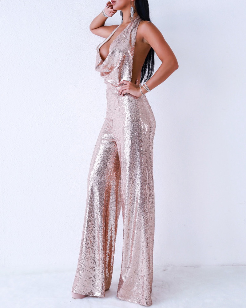 Deep V-Neck Off-The-Shoulder Sleeveless Sequin Sexy Jumpsuit