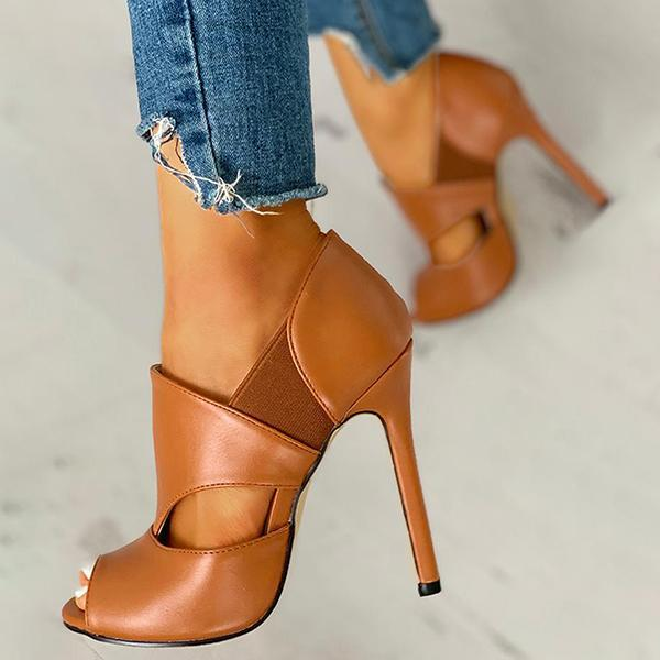 Mokoshoes Solid Hollow Out Design Peep Toe Thin Heels