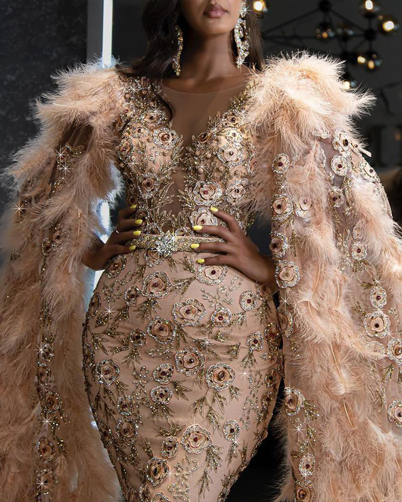 Feather  Long Sleeve Sequin Bodycon Evening Dress