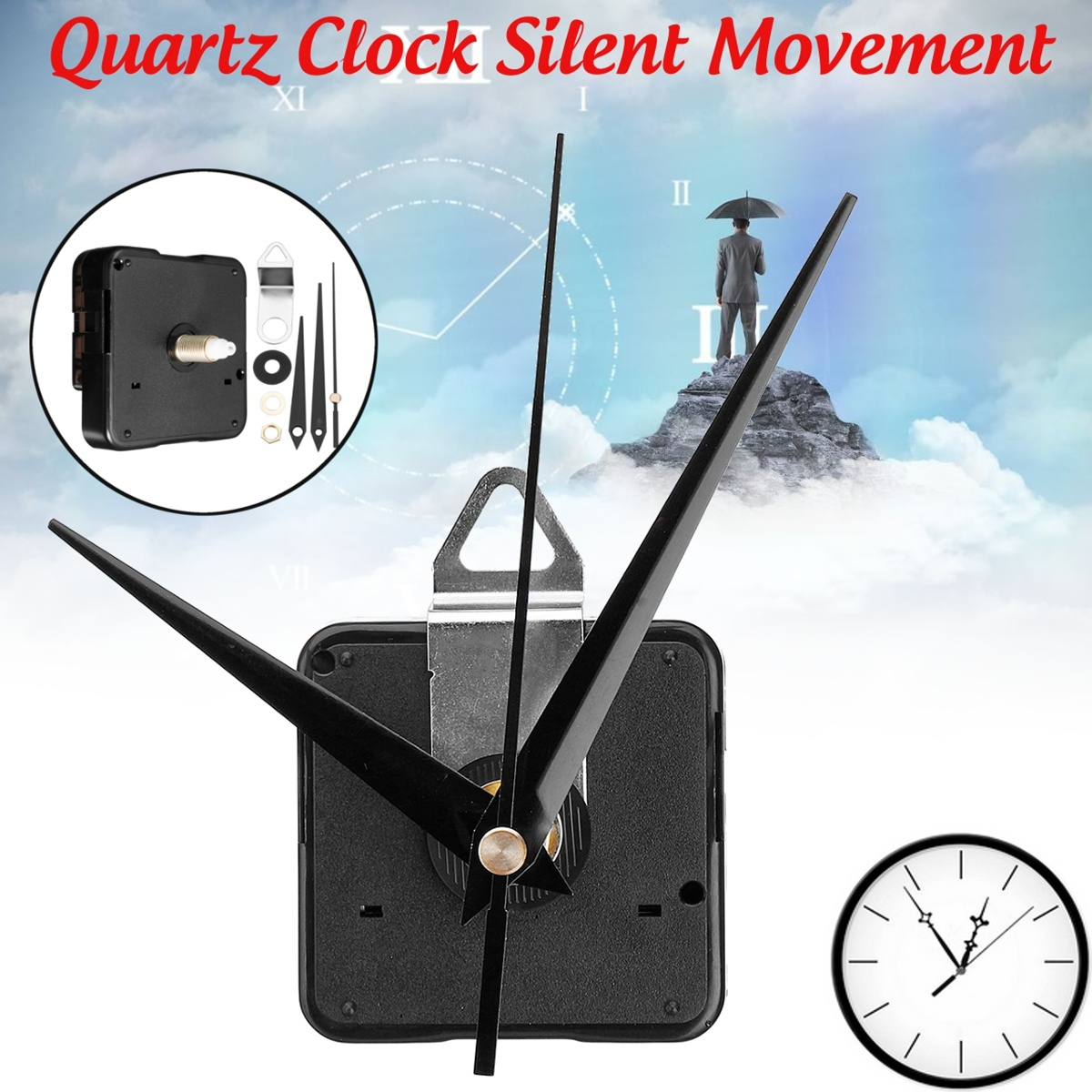 1/2x New  High Torque Quartz Controlled Silent DIY Wall Clock Movement Motor Mechanism Hour Minute Hands Fitting