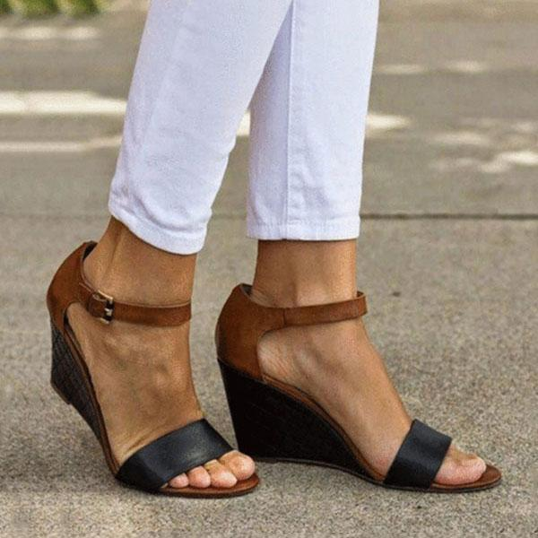 Mokoshoes Color Block Ankle Strap Peep Toe Date Travel Wedge Sandals