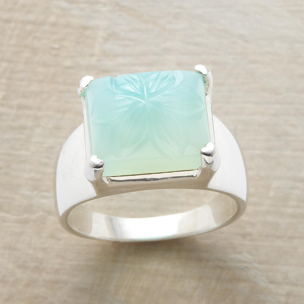 Dazzling 925 Genuine Solid Sterling Silver Chiseled Chalcedony Rings Jewelry Bridemaids Gifts Size 5 6 7 8 9 10 11 (S925 STAMP)