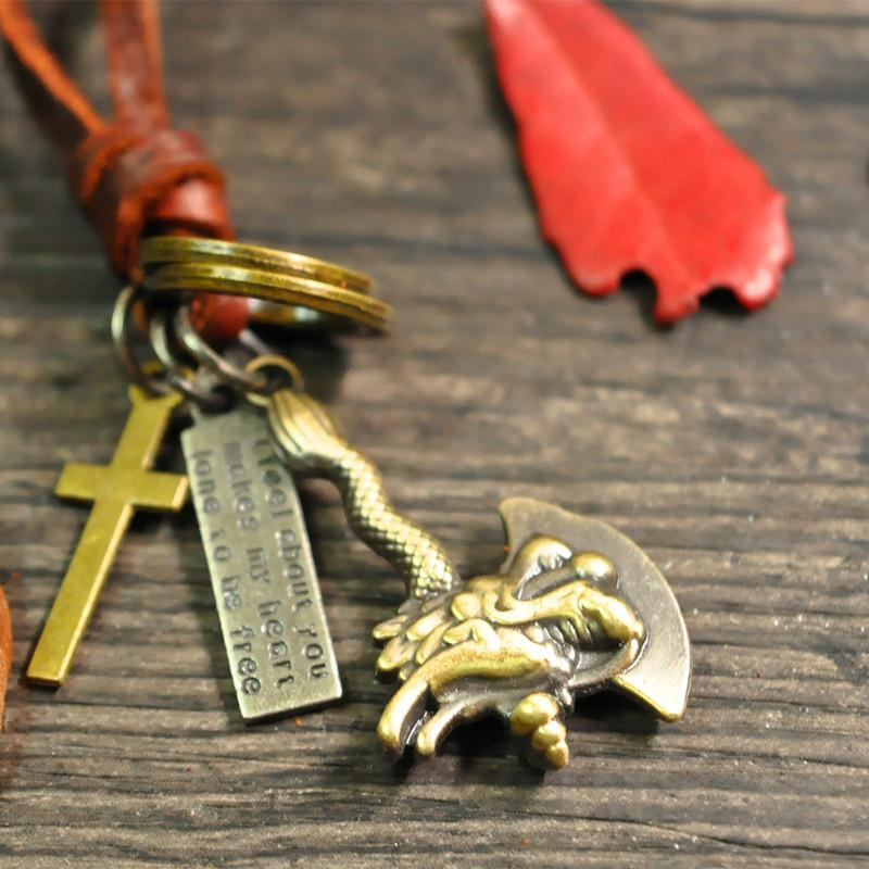 Vintage Dragon Axe Pendant Cowhide Necklace