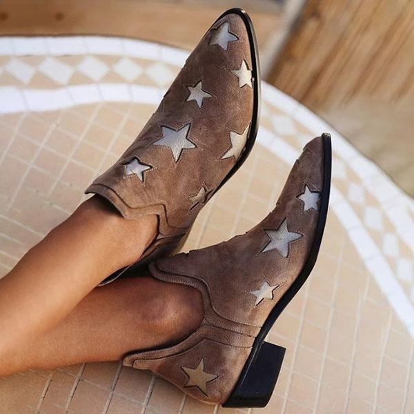 Vickymdoa Star Faux Leather Pointed-Toe Boots