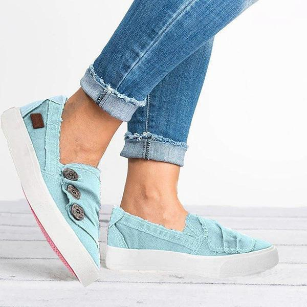Upawear Women Casual Button Comfy Sneakers
