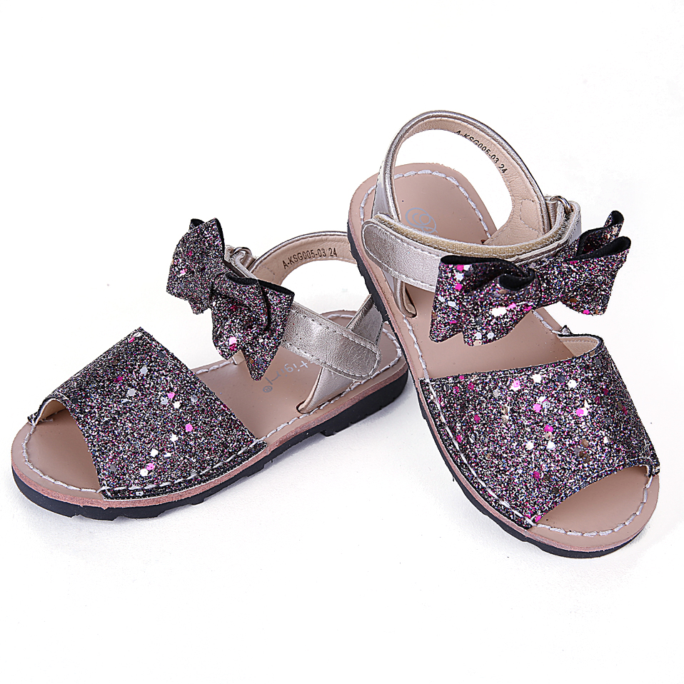 Kid Sandals Children Shoes with Bow Ankle Strap Kids Sandals Girls Purple Toddler Sandals