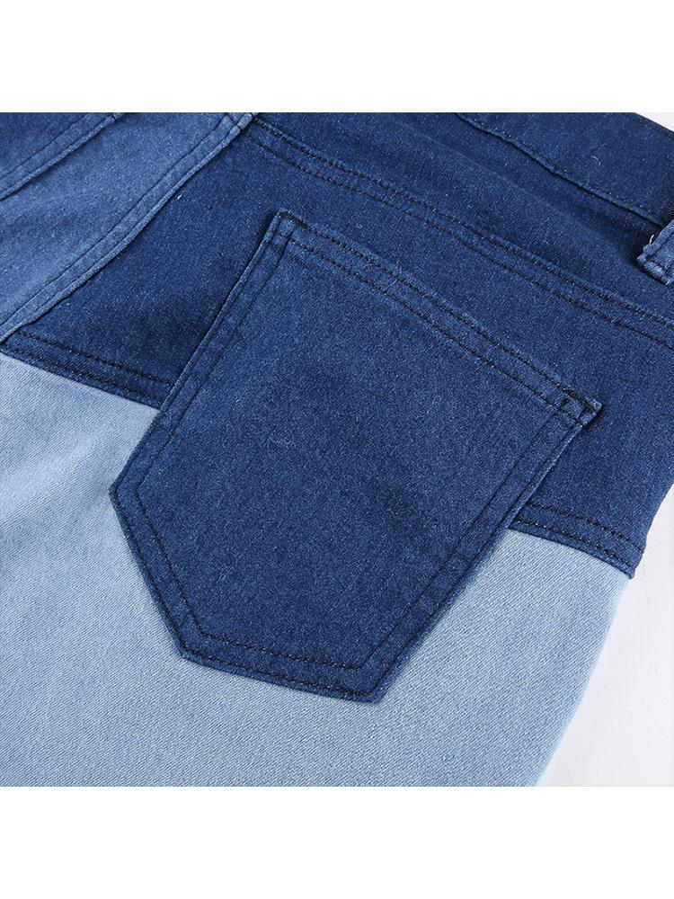 Women Color Matching Blue Stitching Jeans Pants
