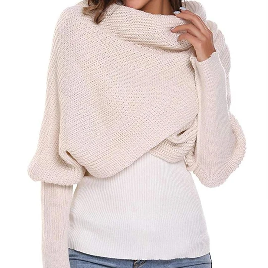 (Black Friday Pre Sale - 50% OFF)Autumn and winter fashion crochet knitted scarf with sleeves