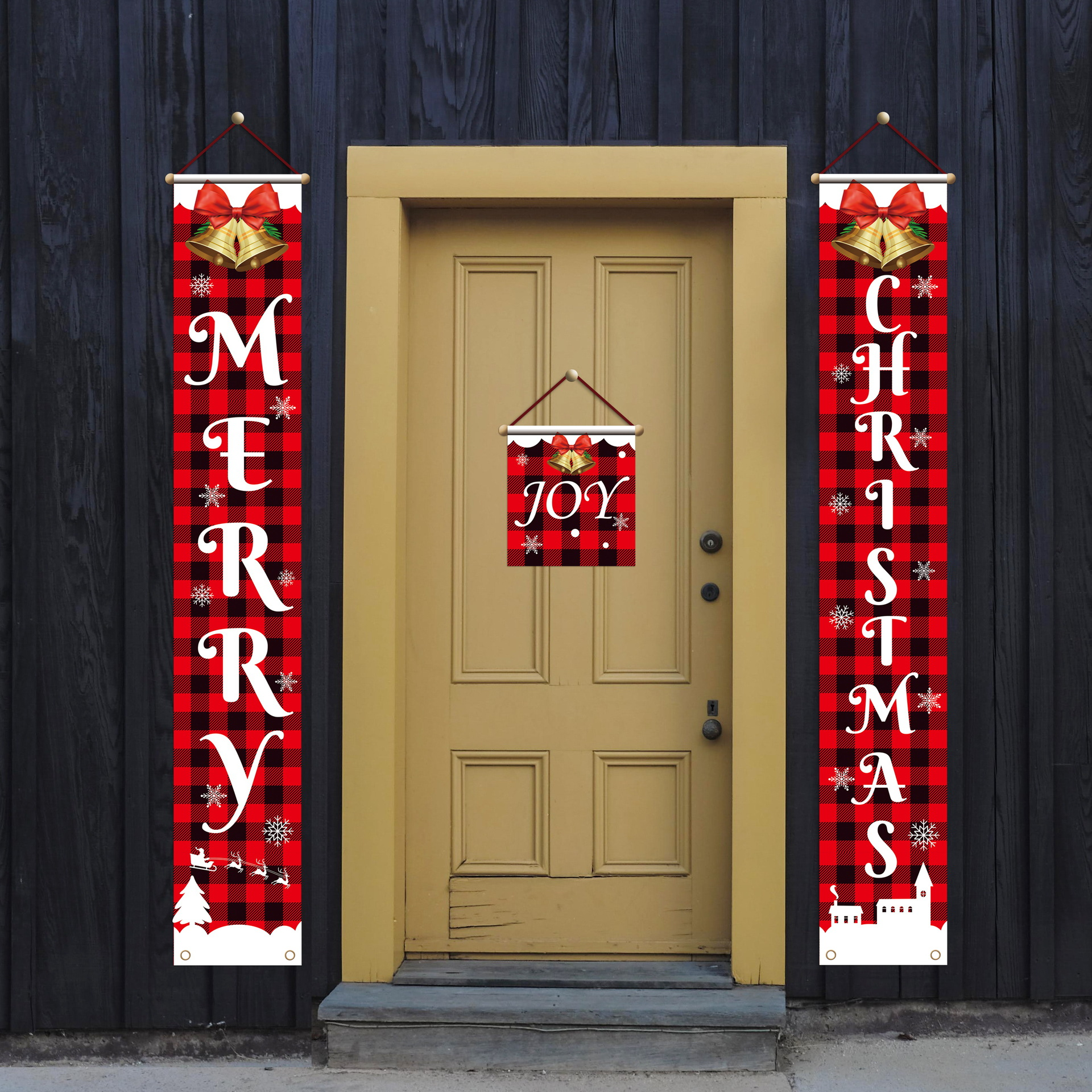 Christmas door curtain door hanging couplet Christmas scene decoration