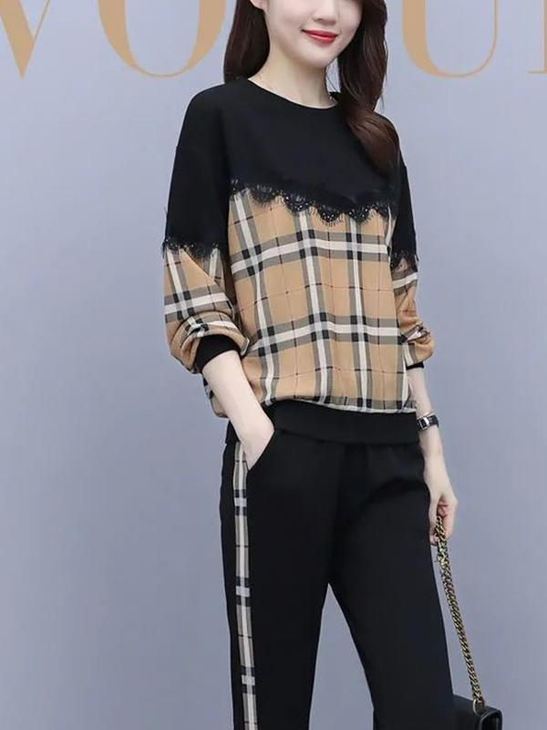 Plaid Round Neck Long-sleeved Two Pieces Suit