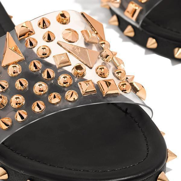 Zoeyootd Multi-Sized Studs Clear Strap Slippers