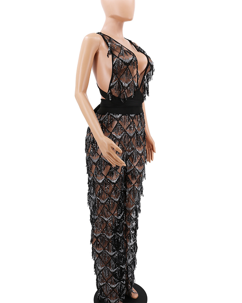 Fashionable Fringed Sequined See-through Party Jumpsuit