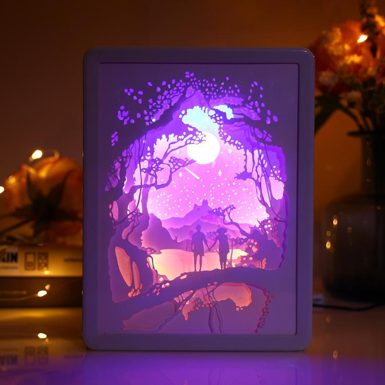 3D Light and Shadow Paper Carving Lamp