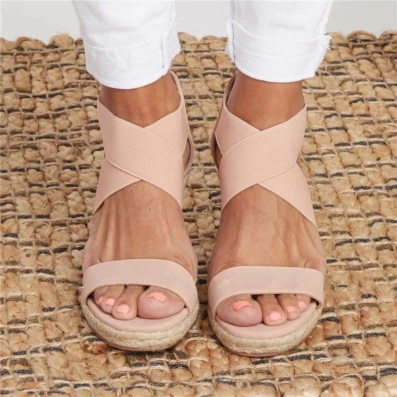 Women Criss Cross Espadrilles Stretch Weave Wedge Sandals