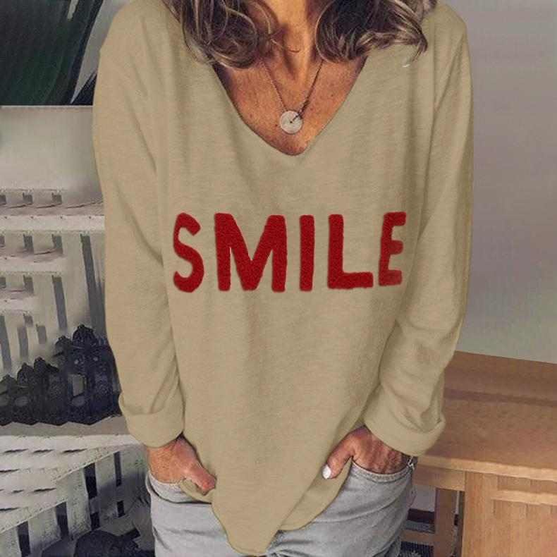 Women V Neck Long Sleeve Letters Printe Embroidered Top