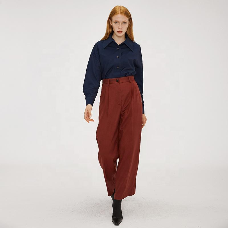 high waist loose modern vintage office wear casual wide leg high street OL style women long pants-carrot trousers 2.11