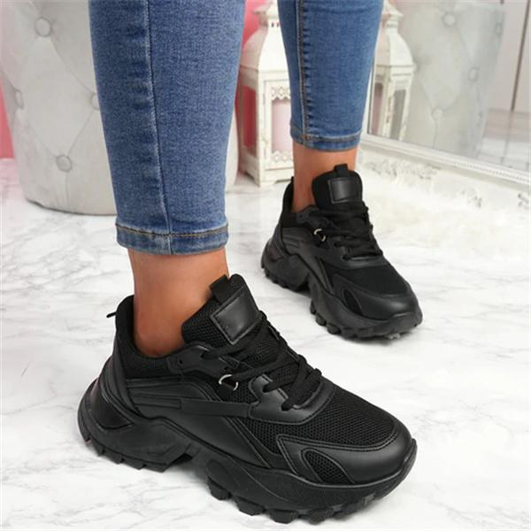 Bonnieshoes Classic Polyester Closed Toe Pull-On Platform Chunky Sneakers