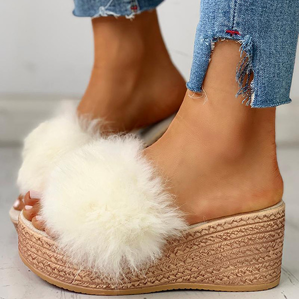 Bonnieshoes Fluffy Platform Wedge Heeled Slippers