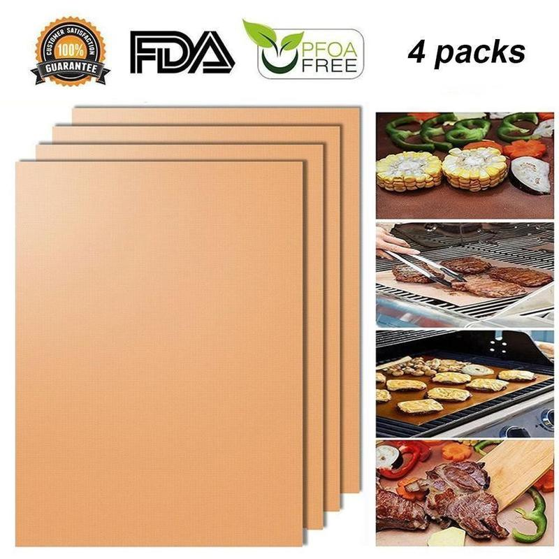 Non-stick BBQ Baking Mats-4 Packs in 1 Set!