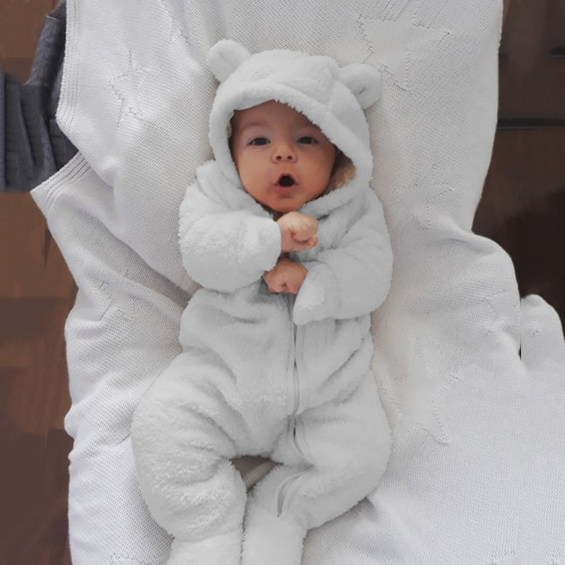 2019 0-2 Years Old 5 Colors Newborn Baby Cute long sleeve Jumpsuit Fashion Autumn Winter Infant Baby Boys Girls Rompers Kids Solid Color One Piece Hooded Warm Cloth