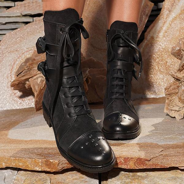 Bonnieshoes Low Heel Bowknot Lace-Up Mid-Calf Boots