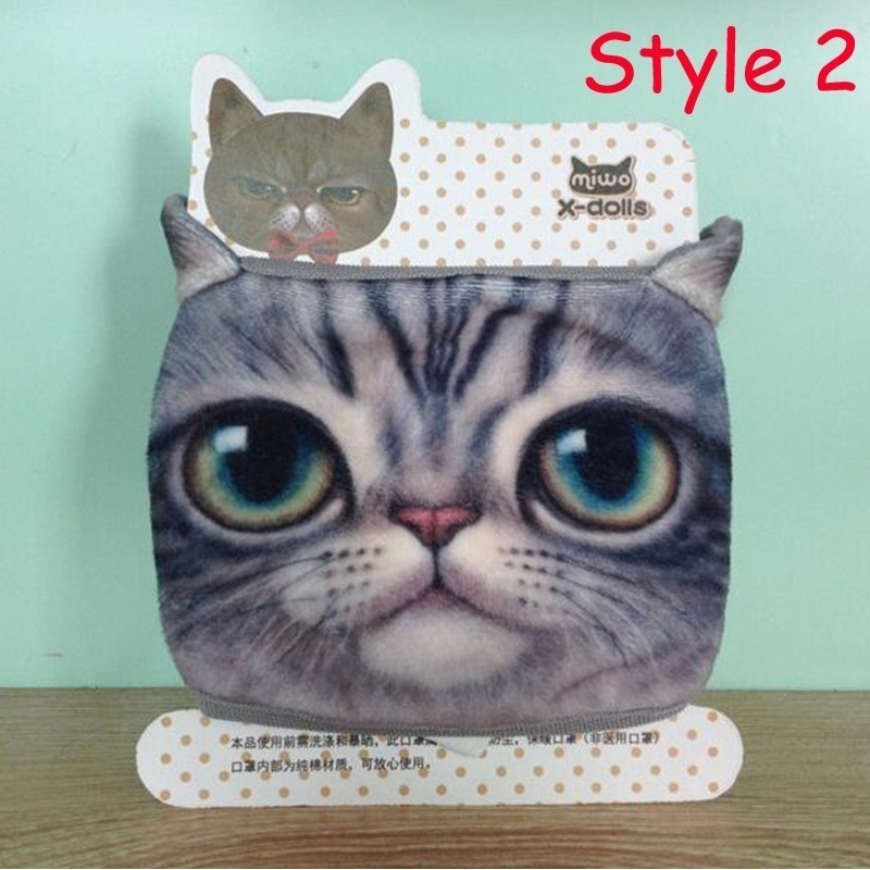 Cute Cotton Dustproof Face Mask 3D Cat Printed Men And Women Funny Masks