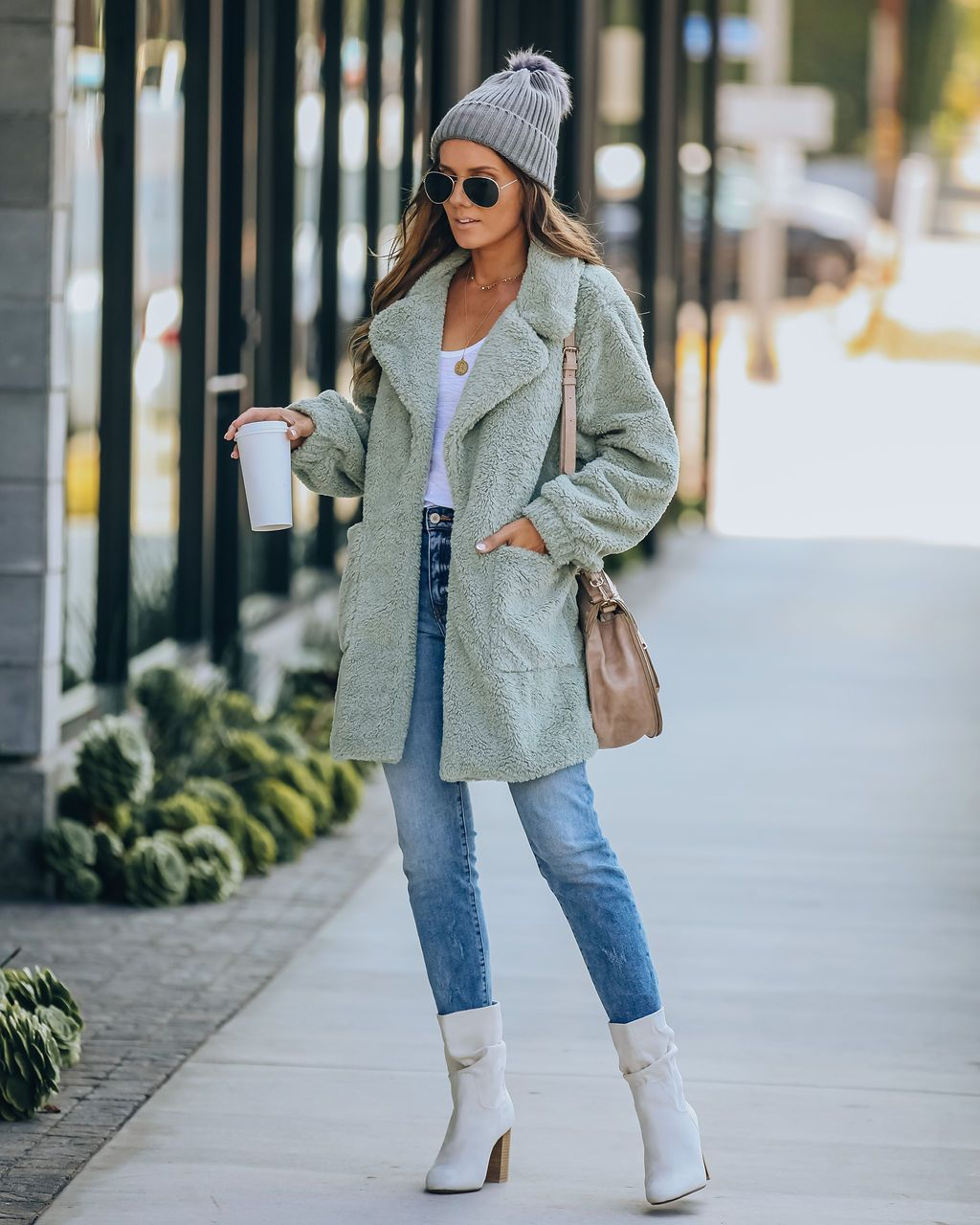 Xenia Pocketed Coat - Sage