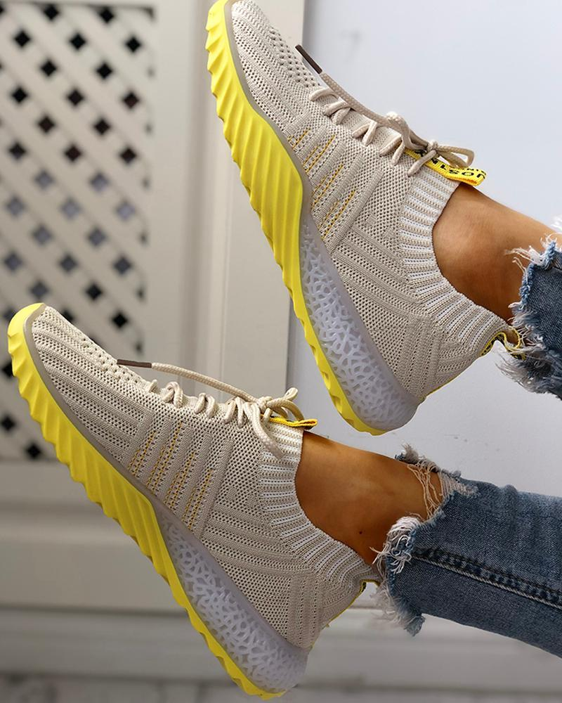 Women Colorblock Knitted Breathable Lace-Up Yeezy Sneakers