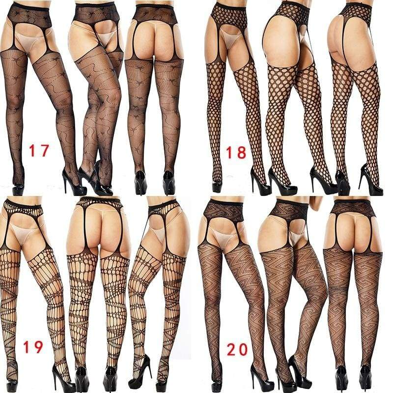 30 Styles Adult Sexy Underwear Suspenders Silk Stockings Mesh Stockings Female Sexy Lace Transparent Seductive Suit Sexy Suspenders Lingerie Without Panties
