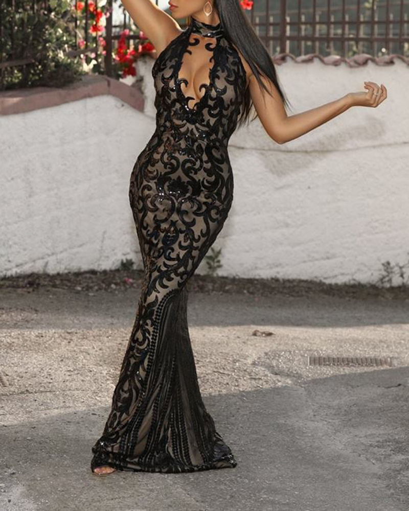 Sexy High Neck Mesh Off-The-Shoulder Sequin Evening Dress