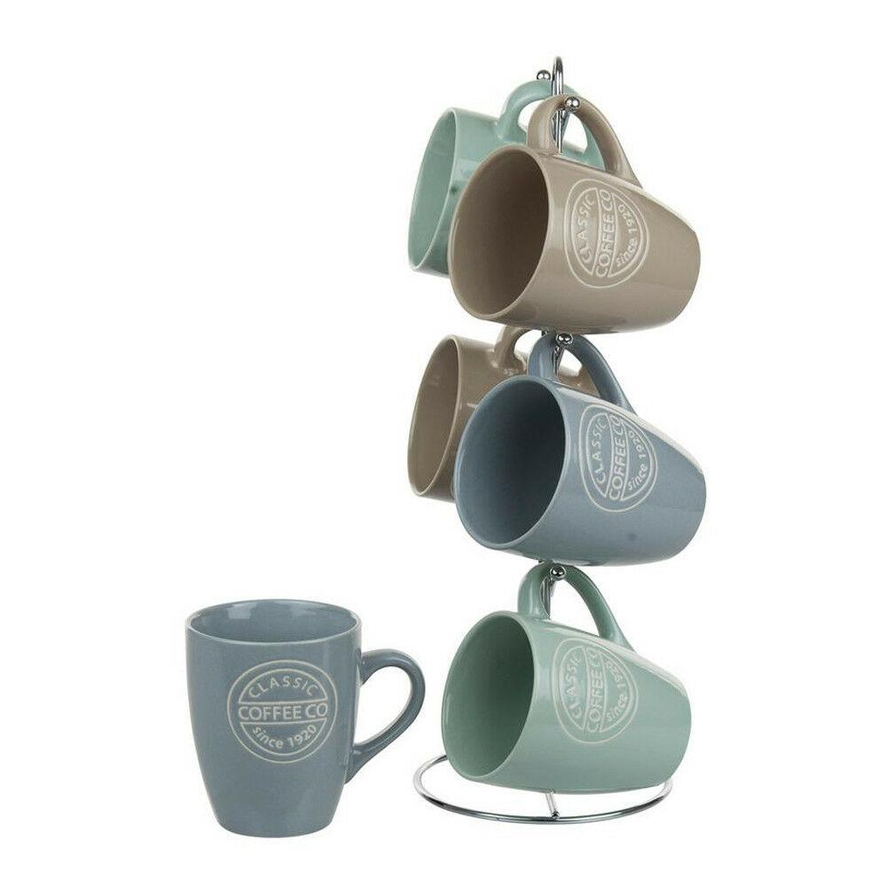 Home Basics 6-Piece Stoneware Classsic Coffee Mug Set with Chrome Stand
