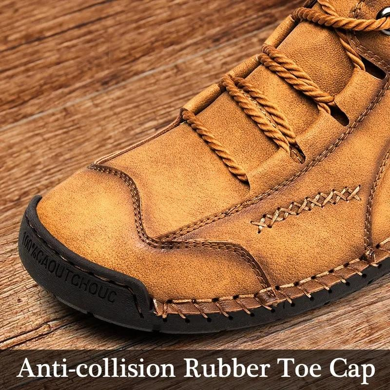Mens lace-up short boots casual comfortable shoes flat leather boots