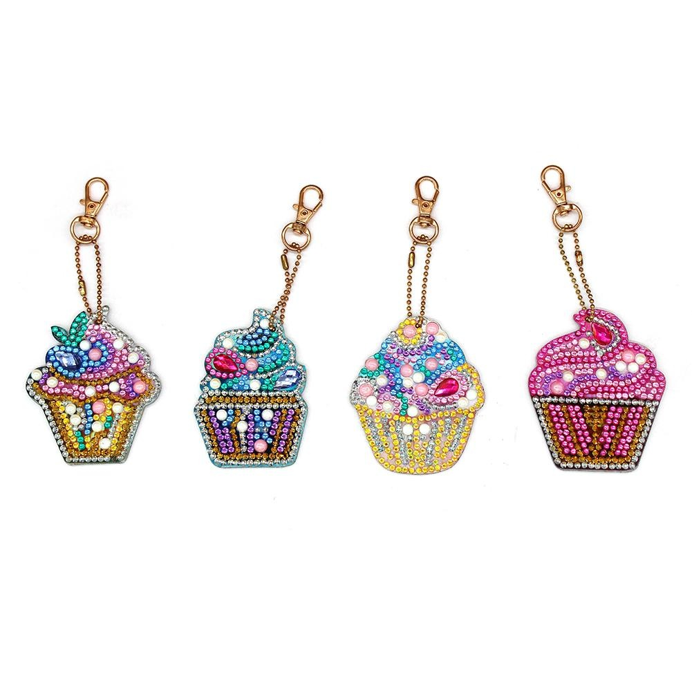 4pcs/set DIY Full Drill Special Shaped Diamond Painting Keychain Gift Keyring