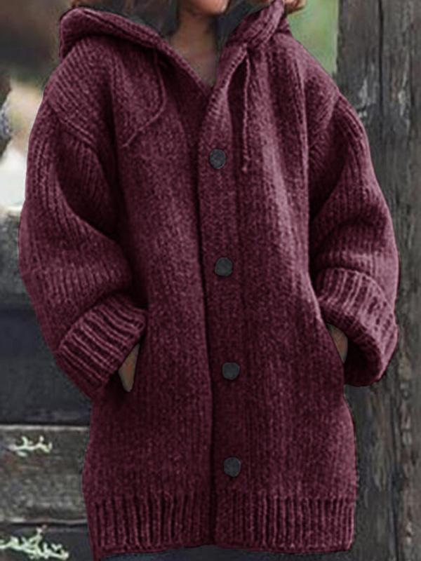 Bonnieshoes Solid Chunky Knit Pocket Hooded Casual Cardigan