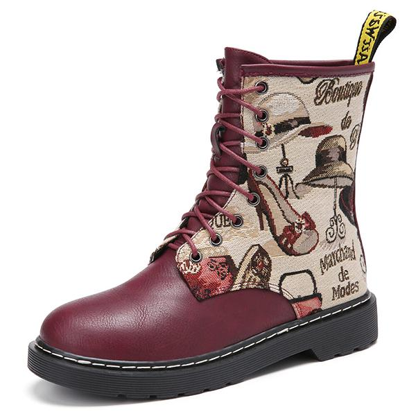 Bonnieshoes Printing Pattern Splicing Lace Up Comfy Martin Boots